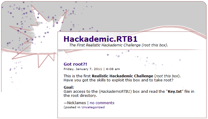 HackademicRTB1 challenge solution - RCE Security